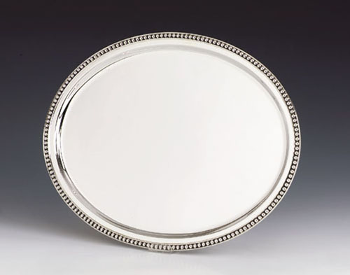 Small Pearls Oval Silver Tray