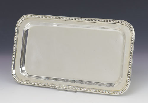 Pearls Small Rectangular Silver Tray