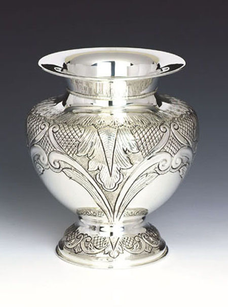 Chasing Silver Vase
