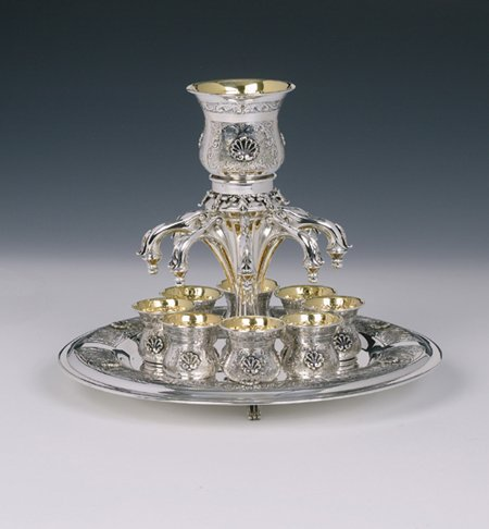 Shell 8 Cups Sterling Silver Wine Fountain