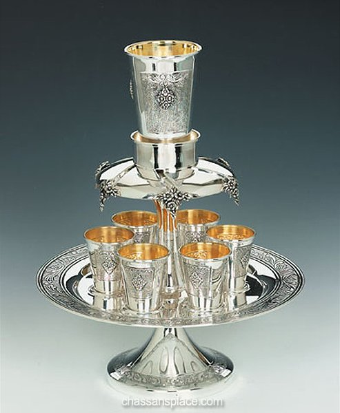 Italian Hazorfim 6 Cups Sterling Silver Wine Fountain