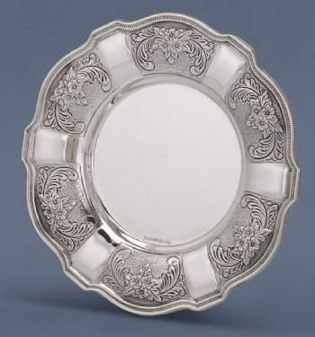 Cobalt Decorated Silver Plate