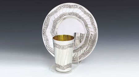 Leaves Sterling Silver Kiddush Cup Set
