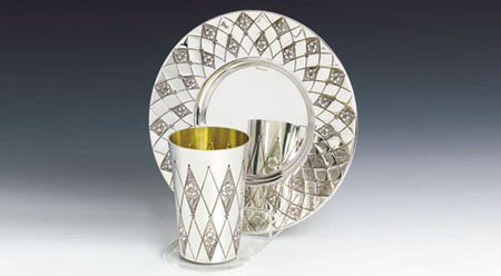 Diamonds Sterling Silver Kiddish Cup Set