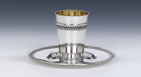 Hazorfim Filigrin Sterling Silver Kiddush Cup Set