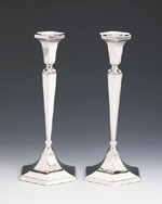 Hazorfim  Hexagon Sterling Silver Candlesticks - 9""