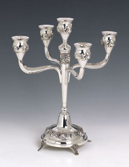 Sterling Silver Big Roses Candelabra 5 Lights