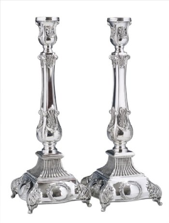 Square Baron Sterling Silver Candlesticks - 13""