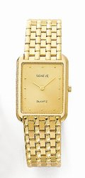 Euro Geneve 14K Yellow Gold Rectangular Mens Watch