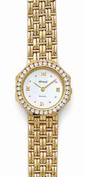 Euro Geneve Women's Watch - Solid 14K Gold and Channel Set Diamonds