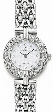 14K White Gold Women's Round Diamond Watch - Euro Geneve