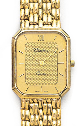 Euro Geneve 14K Yellow Gold Textured Face Mens Watch