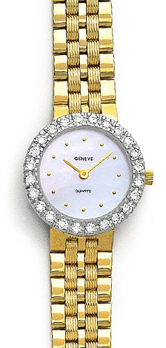Euro Geneve Watch - Solid 14K Gold & Diamond Watch with Diamond Bezel