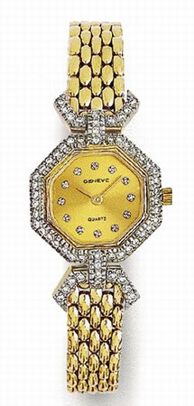 14K Yellow Gold Ocatagon Ladies Diamond Watch - Geneve Euro