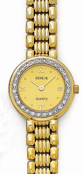14K Yellow Gold Ladies Diamond Watch - Geneve Euro