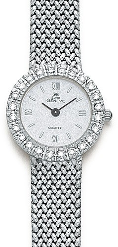 14k White Gold Women's Euro Geneve Round Watch With Diamonds