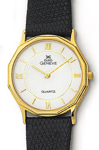 Euro Geneve Men's Watch -  14K Gold with Leather Band