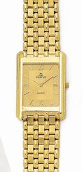 Euro Geneve 14K Yellow Gold Mens Watch with Tone-on-Tone Dial