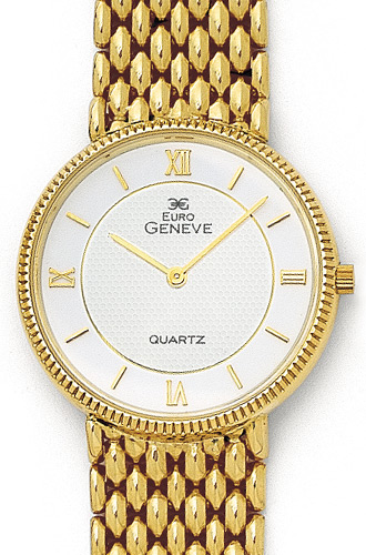 Euro Geneve 14K Yellow Gold Round White Dial Mens Watch