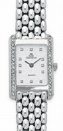 White Gold Watches - 14k White Gold & Diamond Euro Geneve Brand Watch