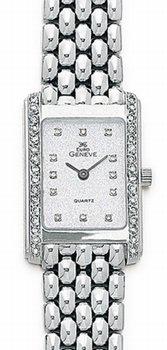 White Gold Watches - 14k White Gold & Diamond Euro Geneve Brand Watch
