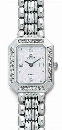 Euro Geneve 14k White Gold Rectangle watch with diamond bezel