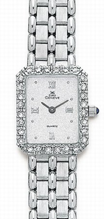 14K White Gold Ladies Diamond Watch - Geneve Euro