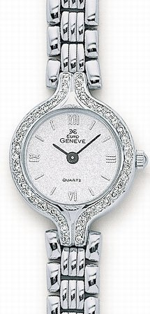 Euro Geneve Watch - 14K White Gold Ladies Diamond Watch