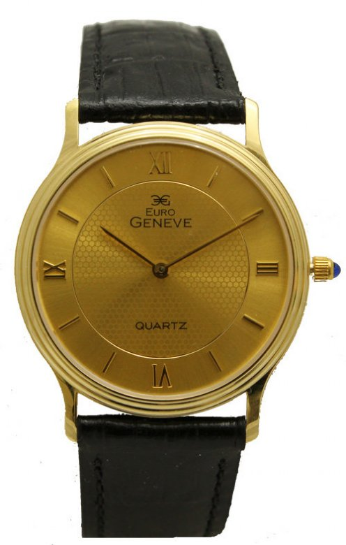 Euro Geneve 14K Gold Watch with Leather Strap
