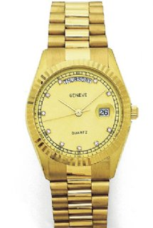 Geneve Men's Watch - Solid 14K gold watch with diamond indicators