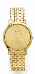 14K Yellow Gold Mens Watch - Geneve Euro
