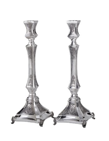 Michaela Hammered Sterling Silver Candlesticks - 17""