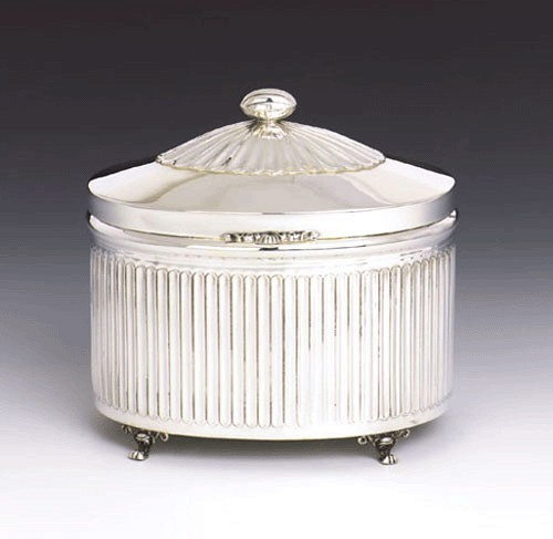 Rubin Oval Striped Sterling Silver Etrog Box - Hazorfim