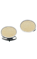 14K Gold Basket Weave Oval Cufflink set in a Sterling Silver Frame