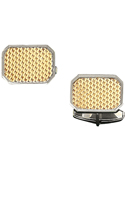 14K Gold Basket Weave Rectangle Cufflink set in a Sterling Silver Frame