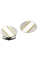 Oval Sterling Silver Cufflinks With Two Diagonal Gold Bars