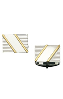 Rectangle Sterling Silver Cuff Links with Two Diagonal Gold Bars