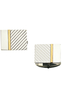 .925 Sterling Silver Rectangle Cufflinks With 14K Gold Strip