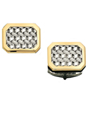 Sterling Silver Mesh Cufflinks With 14K Gold Frame