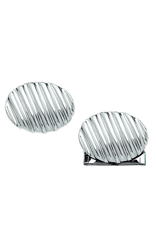 Oval White Gold Cufflinks With Diagonal Lines