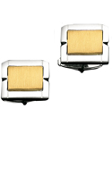 14K Brushed Gold in Center of Sterling Silver Frame Cuff Links