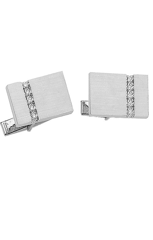 Rectangle White Gold Cufflinks with Row of Diamonds