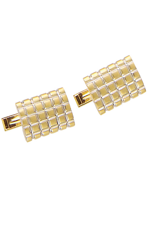 Yellow Gold Grid Cuff Links with White Gold Lines