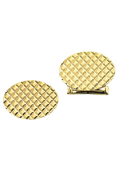 Yellow Gold Oval Waffle Style Cuff Links
