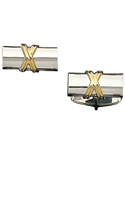 Sterling Silver Log Cufflink With 14K Gold X