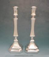 Thin Diamond stripes Sterling Silver Candlesticks - 15""
