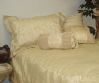 Champagne Brown Brocade Linen Set - Tapestry 600-Thread Count