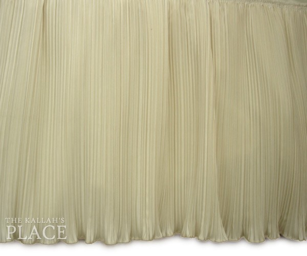 Crystal Pleated Style Dust Ruffle Set - Cream