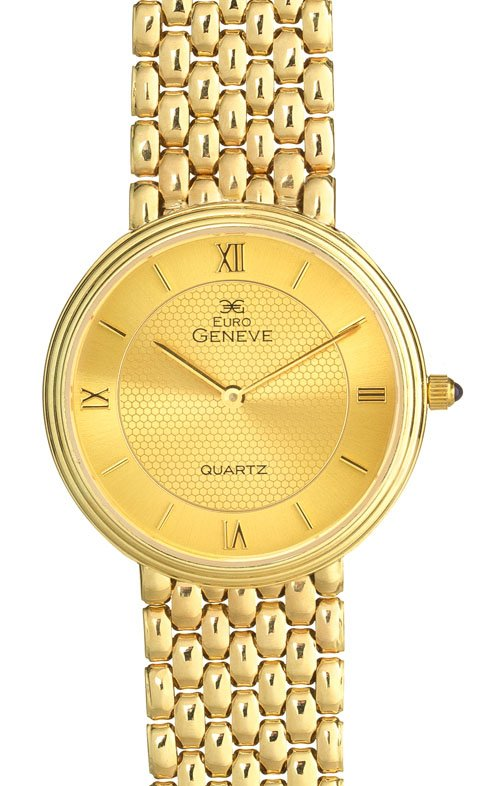 Euro Geneve 14K Yellow Gold Mens Round Watch With Link Band