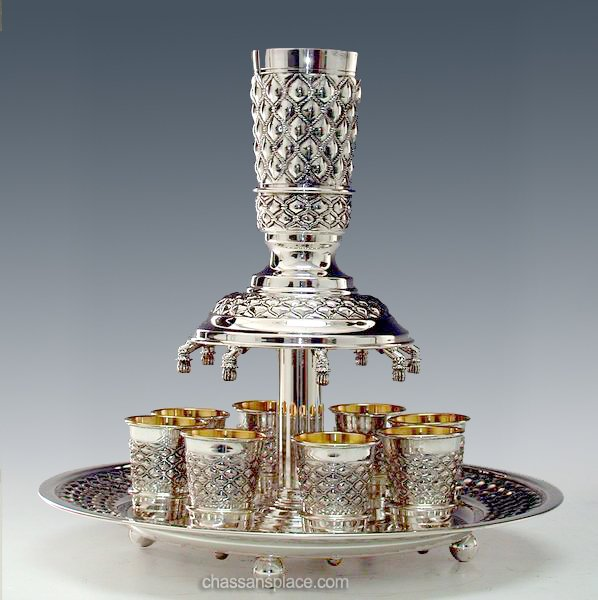 8 Cups Hadad Bubbles Silver Wine Fountain